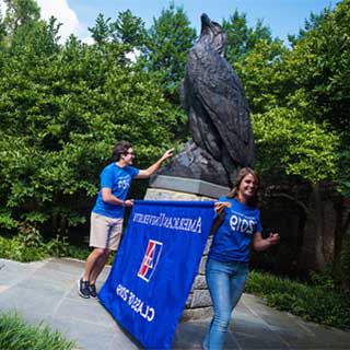 Students rub the Eagle's talon to signify a great start to the academic year.